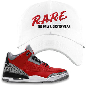Jordan 3 Red Cement Dad Hat | White, Rare