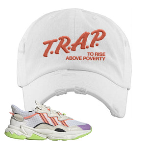 Ozweego Chaos Distressed Dad Hat | White, Trap To Rise Above Poverty
