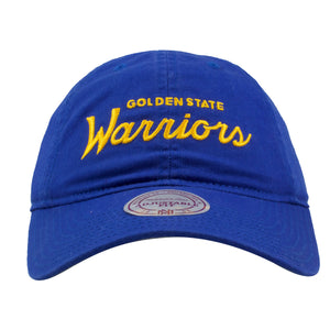 embroidered on the front of the golden state warriors blue dad hat is the Warriors mitchell and ness script in yellow