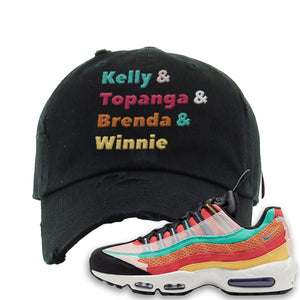 Air Max 95 Black History Month Sneaker Black Distressed Dad Hat | Hat to match Air Max 95 Black History Month Shoes | Kelly And Gang