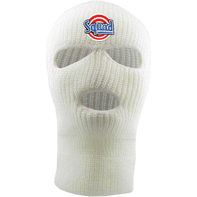 Embroidered on the forehead of the white squad ski mask is the squad logo in red, white, and blue