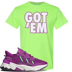Ozweego Vivid Pink Sneaker Neon Green T Shirt | Tees to match Adidas Ozweego Vivid Pink Shoes | Got Em