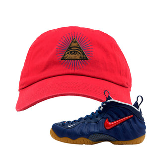 Air Foamposite Pro USA Dad Hat | Red, All Seeing Eye