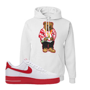 Air Force 1 Low Red Bottoms Hoodie | White, Sweater Bear