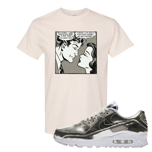 Air Max 90 WMNS 'Medal Pack' Chrome Sneaker Natural T Shirt | Tees to match Nike Air Max 90 WMNS 'Medal Pack' Chrome Shoes | Fake Love Comic