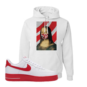 Air Force 1 Low Red Bottoms Hoodie | White, Mona Lisa Mask