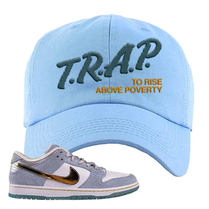 Sean Cliver x SB Dunk Low Dad Hat | Trap To Rise Above Poverty, Light Blue