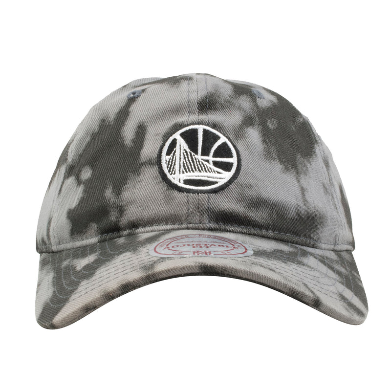 embroidered on the front of the golden state warriors black and gray acid wash dad hat is the warriors logo in black and white