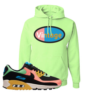 Furry Air Max 90 Bright Neon Pullover Hoodie | Vintage Oval, Neon Green