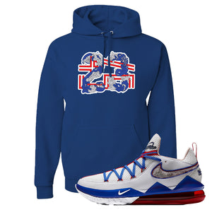 LeBron 17 Low Tune Squad Sneaker Royal Blue Pullover Hoodie | Hoodie to match Nike LeBron 17 Low Tune Squad Shoes | 23X45