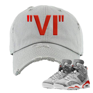 Jordan 6 Neutral Grey Sneaker Light Gray Distressed Dad Hat | Hat to match Nike Air Jordan 6 Neutral Grey Shoes | VI