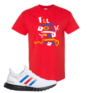 Ultra Boost White Red Blue T Shirt | Red, I'll Rock Your World