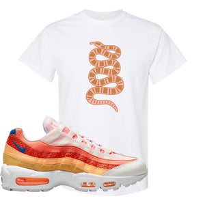 Air Max 95 Orange Snakeskin T Shirt | Coiled Snake, White