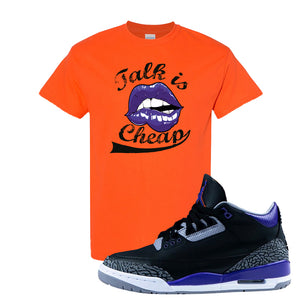 Air Jordan 3 Court Purple T Shirt | Talk Is Cheap, Orange