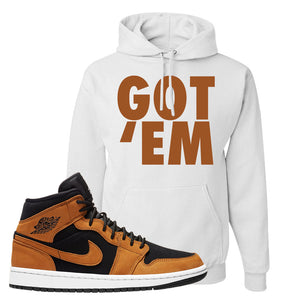 Air Jordan 1 Mid Wheat Hoodie | Got Em, White