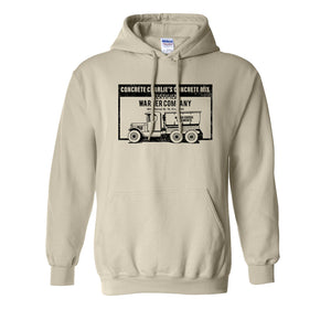 Concrete Charlie's Pullover Hoodie | Chuck Bednarik's Concrete Mix Natural Pull Over Hoodie the front of this hoodie has the concrete company
