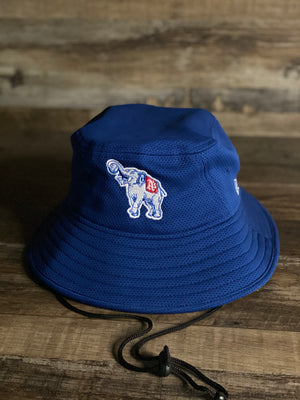 front of view  BUCKET HAT | PHILADELPHIA ATHLETICS | MLB CUSTOM HEADWEAR  VINTAGE LOGO ELEPHANT | BLUE NEW ERA