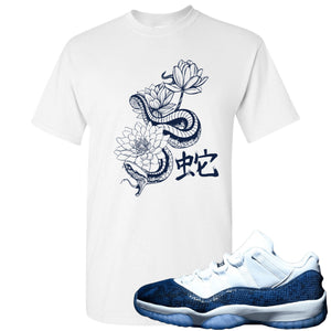 Jordan 11 Low Blue Snakeskin Snake With Lotus Flowers White T-Shirt