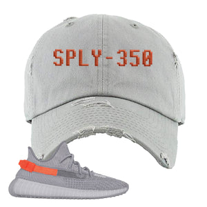 Yeezy Boost 350 V2 Tail Light Sneaker Light Gray Distressed Dad Hat | Hat to match Adidas Yeezy Boost 350 V2 Tail Light Shoes | Sply-350