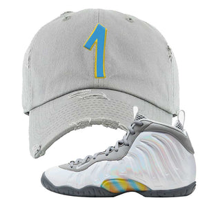 Lil Posite One Rainbow Pixel Distressed Dad Hat | Light Gray, Penny One