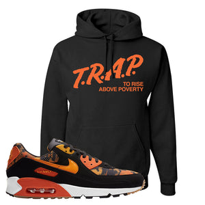 Air Max 90 Orange Camo Hoodie | Trap To Rise Above Poverty, Black