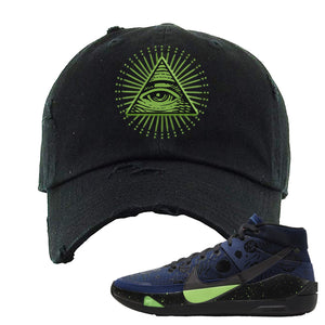 KD 13 Planet of Hoops Distressed Dad Hat | All Seeing Eye, Black