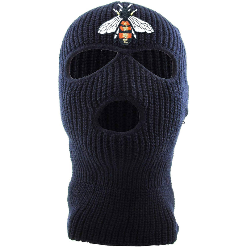 Embroidered on the front of the bumblebee navy ski mask is the bumble bee logo embroidered in red, white, black, and gold