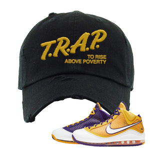 Lebron 7 'Media Day' Distressed Dad Hat | Black, Trap To Rise Above Poverty