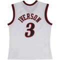 the back of the white allen iverson swingman jersey has the word iverson embroidered in black and red above the number 3
