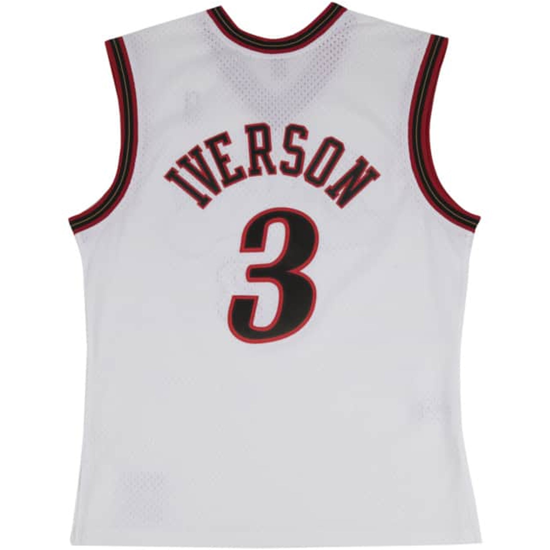 7675089ae979 ... sixers logo embroidered  the back of the white allen iverson swingman  jersey has the word iverson embroidered in black ...