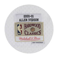 a label with the year 2000-2001  and allen iversons name appears on the white iverson swingman jersey embroidered in black