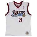 on the front of the white allen iverson swingman jersey is the retro sixers logo embroidered in black red silver blue and tan