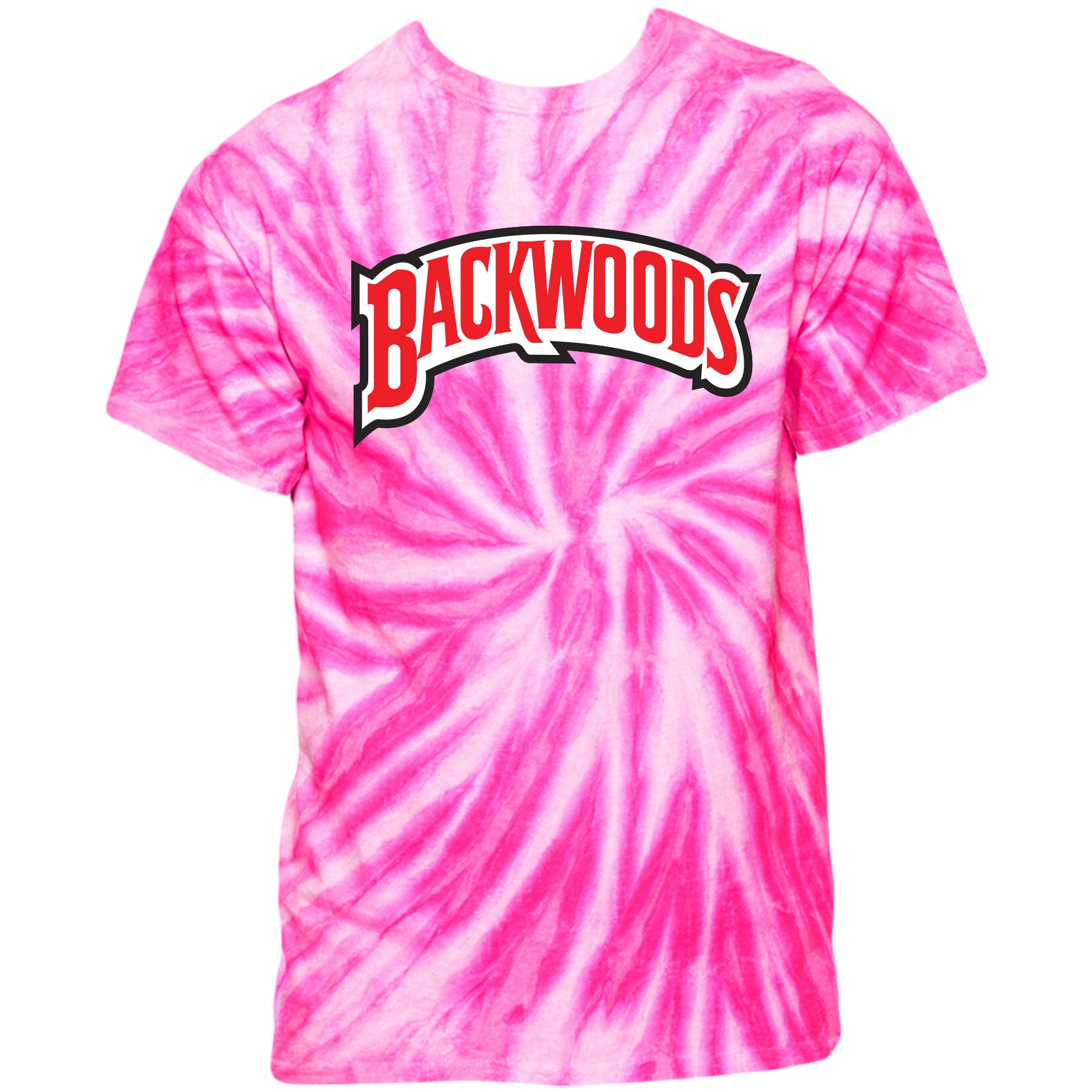 Printed on the front of the Backwoods pink honey berry tie-dye swirl t- b7f64b1be