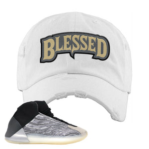Yeezy Quantum Distressed Dad Hat | White, Blessed Arch