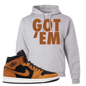 Air Jordan 1 Mid Wheat Hoodie | Got Em, Ash