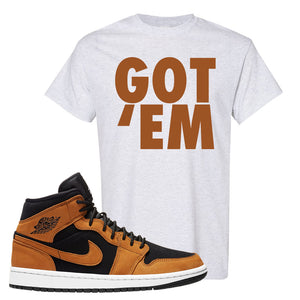 Air Jordan 1 Mid Wheat T Shirt | Got Em, Ash
