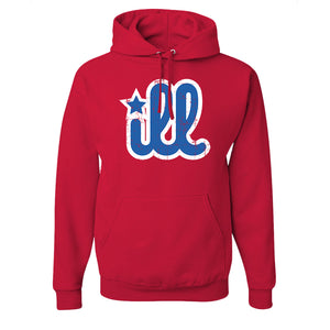 ILL Logo Pullover Hoodie | ILL Logo Red Pull Over Hoodie the front of this hoodie has the blue and white ill design