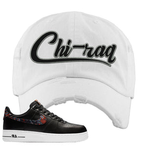 Air Force 1 Low Black Floral Distressed Dad Hat | Chiraq, White