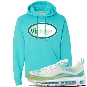 WMNS Air Max 98 Bubble Pack Sneaker Scuba Blue Pullover Hoodie | Hoodie to match Nike WMNS Air Max 98 Bubble Pack Shoes | Vintage Oval