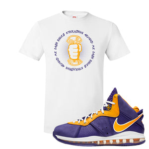 Lebron 8 Lakers T Shirt | Cash Rules Everything Around Me, White