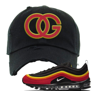 Air Max 97 Black/Chile Red/Magma Orange/White Sneaker Black Distressed Dad Hat | Hat to match Nike Air Max 97 Black/Chile Red/Magma Orange/White Shoes | OG