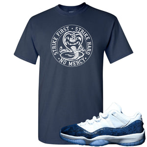 Jordan 11 Low Blue Snakeskin Cobra Snake Navy Blue T-Shirt