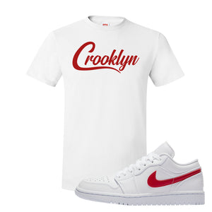 Air Jordan 1 Low White and Varsity Red T Shirt | Crooklyn, White