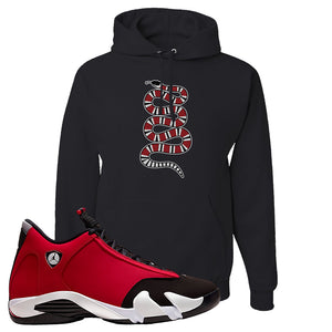 Air Jordan 14 Gym Red Hoodie | Black, Coiled Snake