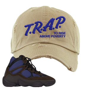 Yeezy 500 High Tyrian Distressed Dad Hat | White, Trap To Rise Above Poverty