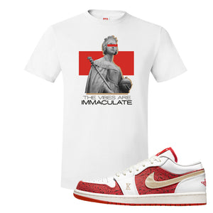Air Jordan 1 Low Spades T Shirt | The Vibes Are Immaculate, White