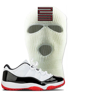 Jordan 11 Low White Black Red Sneaker White Ski Mask | Winter Mask to match Nike Air Jordan 11 Low White Black Red Shoes | Jordan 11 23