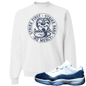 Jordan 11 Low Blue Snakeskin Cobra Snake White Crewneck Sweater