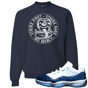 Jordan 11 Low Blue Snakeskin Cobra Snake Navy Blue Crewneck Sweater