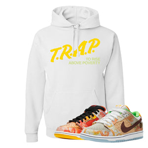 SB Dunk Low Street Hawker Hoodie | Trap To Rise Above Poverty, White